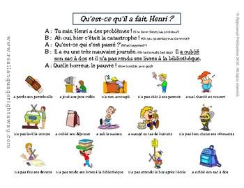 French Partner Conversation: Henri a des problèmes- passé composé regular verbs