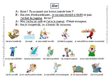 French Partner Conversation: Hier- passé composé with avoir, être and reflexives