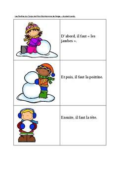 French Parts of the Body Snowman/Les parties du corps du bonhomme de neige