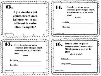 French Passé Composé être Task Cards