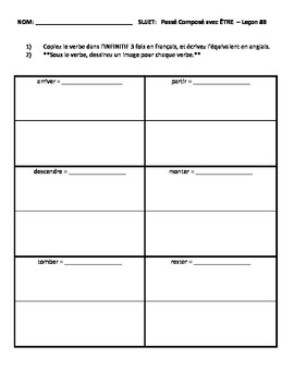 French-Passé Composé with Être-Vandertramp Verbs Drawing/Practice Worksheet