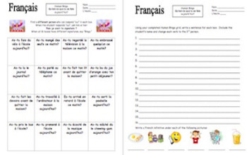 French Passé Composé Human Bingo Speaking Activity - What Did You Do Today?