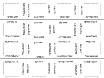 French Passe Compose (Reg and Irreg Past Part) Puzzle Activity