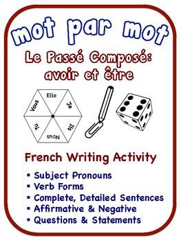 French Passé Composé Writing Activities, être verbs (6 Versions)