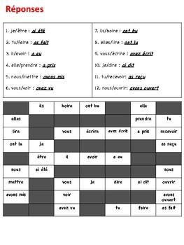 French Passé Composé Writing Activity (Irregular Past Participles)
