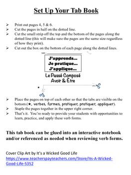 French Passé Composé (avoir & être) Tab Book