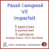 French Passé Composé vs Imparfait / Imperfect Exercises -
