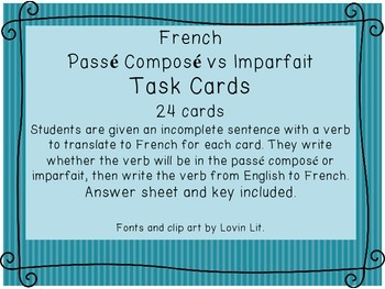 French Passe Compose vs Imparfait Task Cards/ Scoot Game Cards