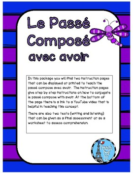 French Passe Compose with Avoir -conjugating verbs in the past tense