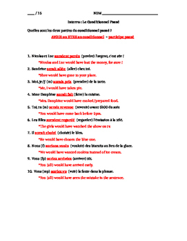 French Past Conditional : 15-point quiz (version 2, harder)