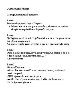 French Past Tense Negation Minilesson - Negation au passe compose