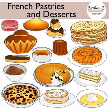 French Pastries and Desserts Clip Art