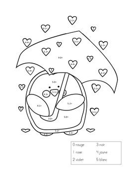 French Penguin Subtract and Color Sheet - Soustraction coloriage magique