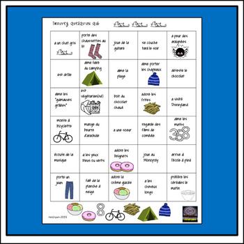 French People Bingo – Trouvez quelqu'un – Oral Activity