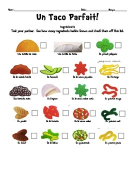 "French ""Perfect Sandwich, Pizza, and Taco"" Communicative Pair Activity"