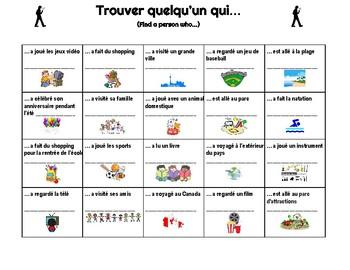 "French Person Bingo September Edition - ""Trouver quelqu'un qui"""
