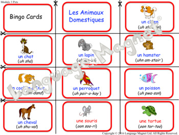 French Pets Audio Sheet and Bingo Game