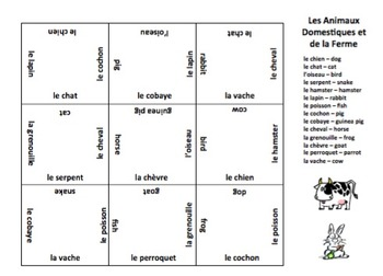 French Animals - Pets and Farm Animals 3 x 3 Matching Squares Puzzle