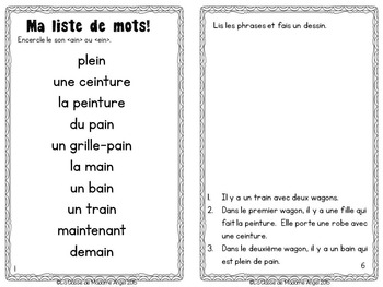French Phonics Activities: Mon cahier des sons {ain} et {ein}