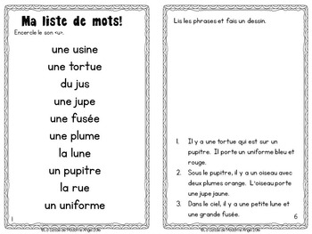 French Phonics Activities: Mon cahier des sons {u}