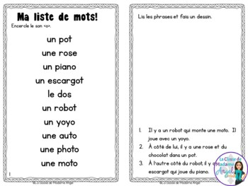 French Phonics Activities: Mon cahier des sons {o}