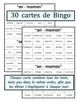 French Phonics Bingo: Le Bingo des sons: AN - mamAN