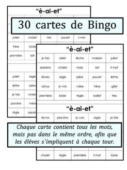 French Phonics Bingo: Le Bingo des sons: È-AI-ET
