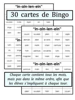 French Phonics Bingo: Le Bingo des sons: IN-AIN-IEN-EIN