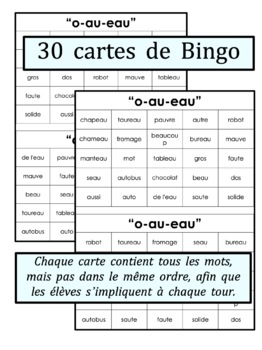 French Phonics Bingo: Le Bingo des sons: O-AU-EAU