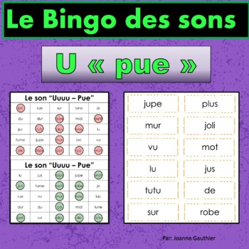 French Phonics Bingo: Short Uu/Le Bingo des sons: voyelle