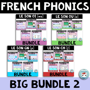French Phonics Digital BIG Bundle 2: GN CH OI OU | French BOOM Cards