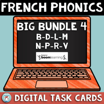 French Phonics Digital BIG Bundle 4: sounds B D L M N P R V   French BOOM Cards