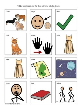 French Phonological Awareness Task or Game Cards and Worksheets