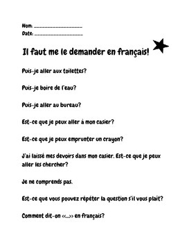 French Phrases and Questions Poster and Handout