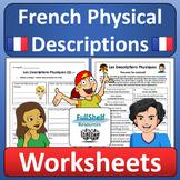 French Physical Descriptions Worksheets Les Descriptions Physiques