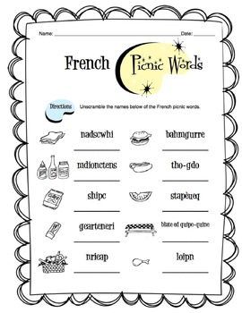 French Picnic Items Worksheet Packet