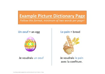 French Picture Dictionary Vocab Activity Project for ALL levels