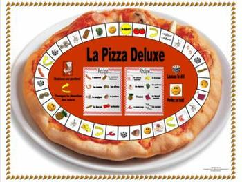 French Pizza- La Pizza Deluxe Game Board and Pizza topping flashcards
