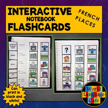 French Places, Locations, Buildings Interactive Notebook Flashcards, Endroits
