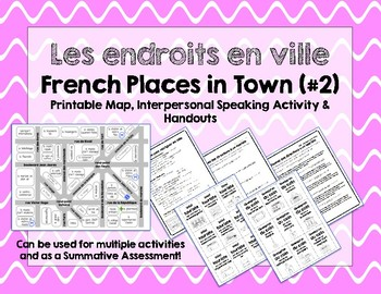 French Places in Town / Endroits en ville #2: Printable Map & Speaking Activity