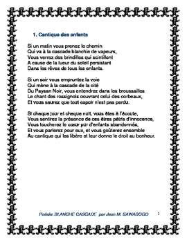 French Poetry: Blanche Cascade