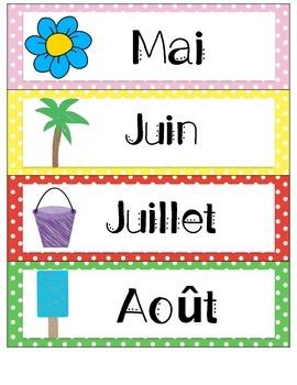 French - Polka Dot Themed Calendar Cards