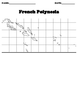 French Polynesia Coordinate Grid Map Blank