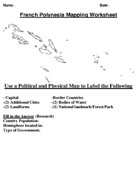 French Polynesia Mapping Worksheet w/ Oceania Word Search