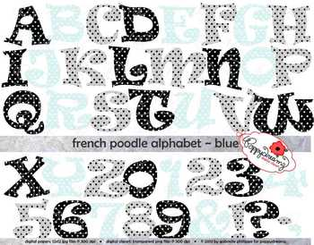 French Poodle Alphabet Blue Letters and Numbers Clipartby