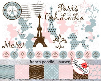 French Poodle Nursery Clipart and Digital Papers by Poppydreamz