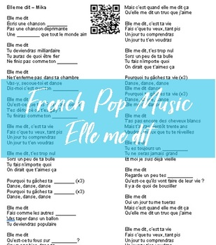 French Pop Music Listening Activity (Elle me dit)