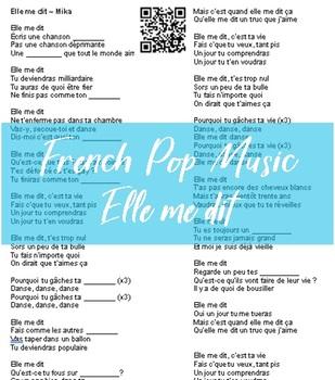 French Pop Music Listening Activity (Elle me dit)