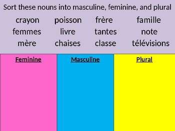 French Possessive Adjectives PowerPoint