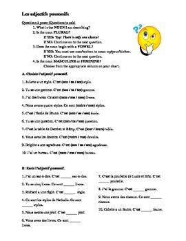 French Possessive Adjectives Worksheet
